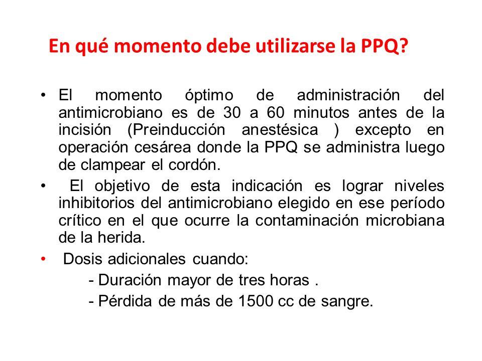 En qué momento debe utilizarse la PPQ? El momento óptimo de administración del antimicrobiano es de 30 a 60 minutos antes de la incisión (Preinducción