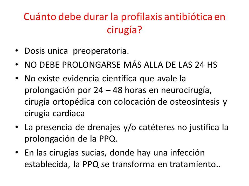 Cuánto debe durar la profilaxis antibiótica en cirugía? Dosis unica preoperatoria. NO DEBE PROLONGARSE MÁS ALLA DE LAS 24 HS No existe evidencia cient
