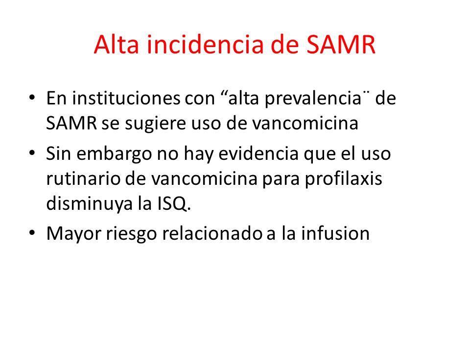 Alta incidencia de SAMR En instituciones con alta prevalencia¨ de SAMR se sugiere uso de vancomicina Sin embargo no hay evidencia que el uso rutinario