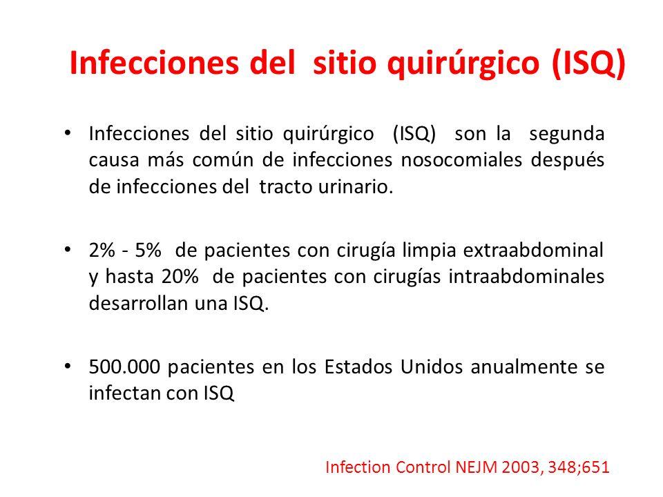 Infecciones del sitio quirúrgico (ISQ) Infecciones del sitio quirúrgico (ISQ) son la segunda causa más común de infecciones nosocomiales después de in