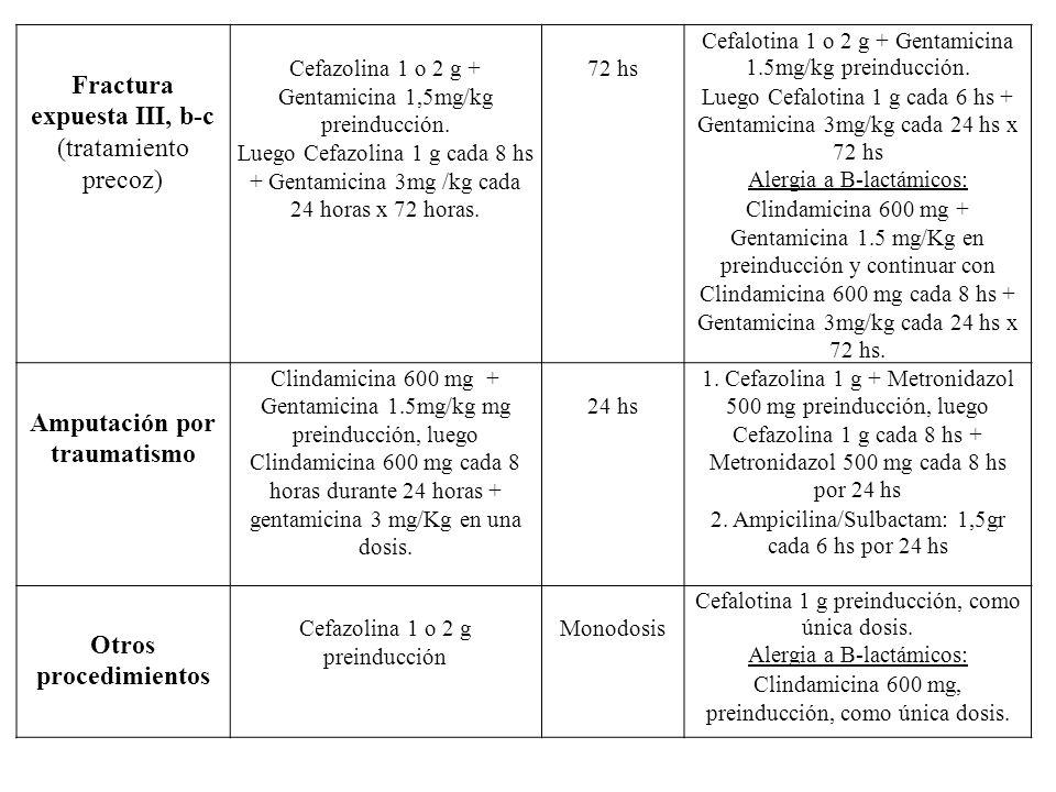Fractura expuesta III, b-c (tratamiento precoz) Cefazolina 1 o 2 g + Gentamicina 1,5mg/kg preinducción. Luego Cefazolina 1 g cada 8 hs + Gentamicina 3