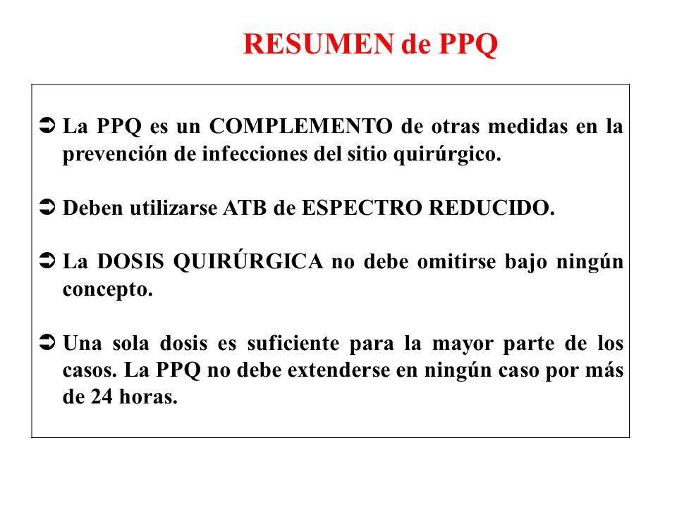 La PPQ es un COMPLEMENTO de otras medidas en la prevención de infecciones del sitio quirúrgico. Deben utilizarse ATB de ESPECTRO REDUCIDO. La DOSIS QU