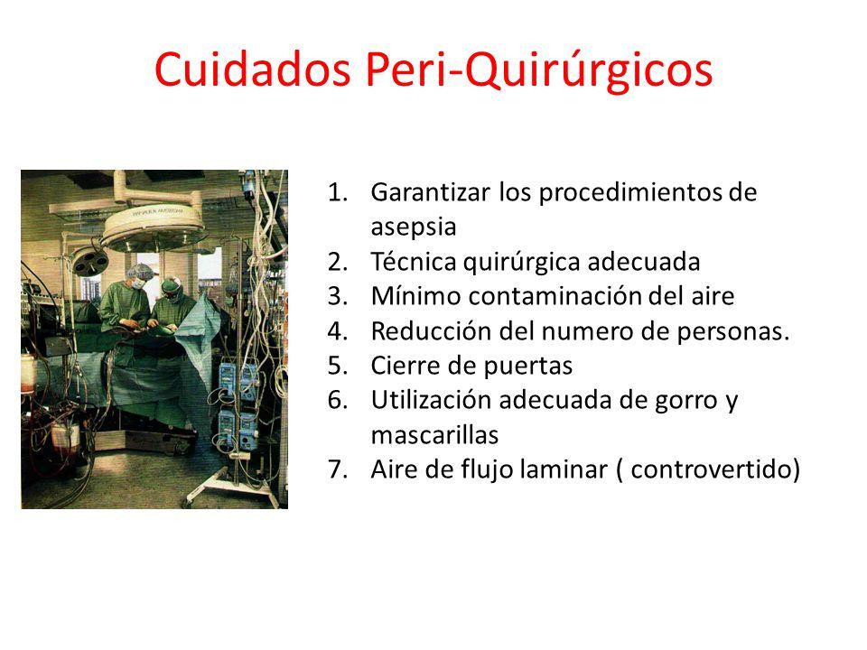 Cuidados Peri-Quirúrgicos 1.Garantizar los procedimientos de asepsia 2.Técnica quirúrgica adecuada 3.Mínimo contaminación del aire 4.Reducción del num