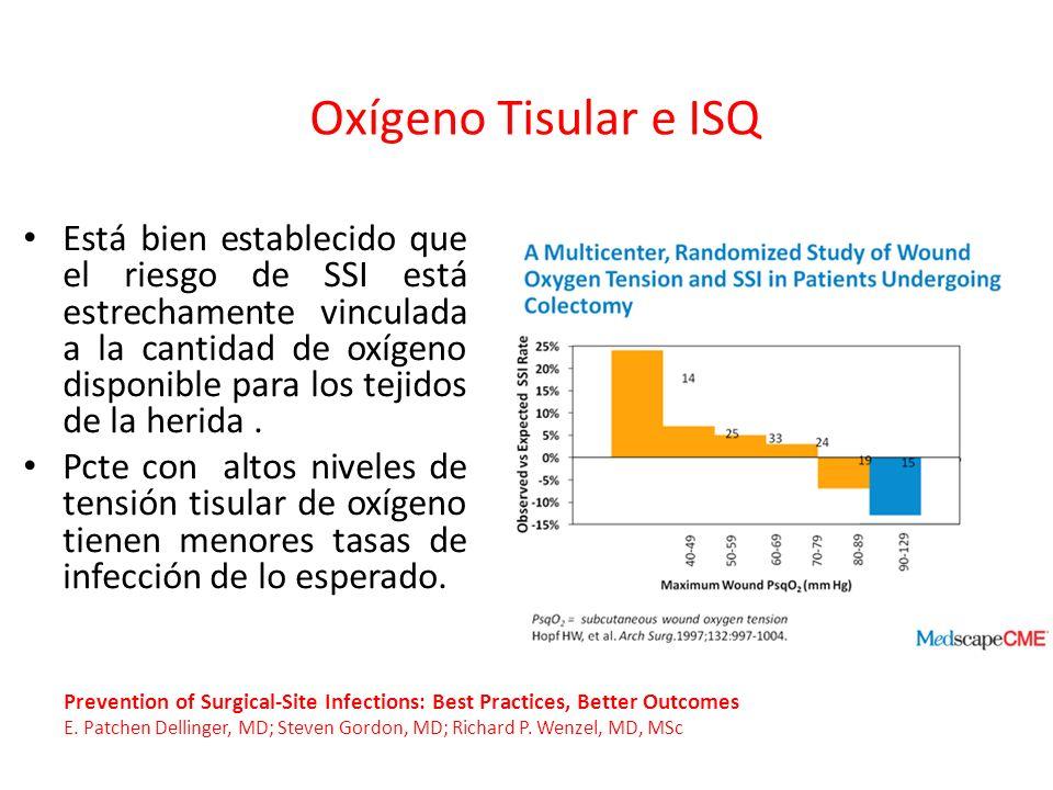 Está bien establecido que el riesgo de SSI está estrechamente vinculada a la cantidad de oxígeno disponible para los tejidos de la herida. Pcte con al