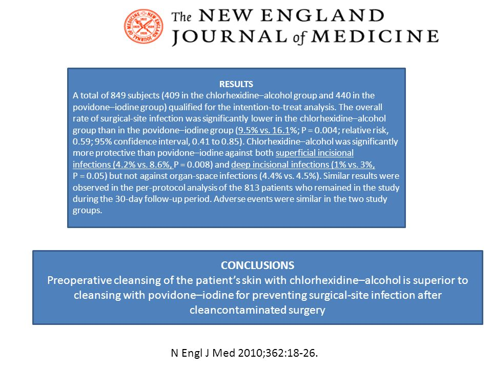 CONCLUSIONS Preoperative cleansing of the patients skin with chlorhexidine–alcohol is superior to cleansing with povidone–iodine for preventing surgic