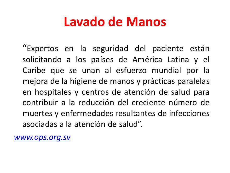 Lavado de Manos Expertos en la seguridad del paciente están solicitando a los países de América Latina y el Caribe que se unan al esfuerzo mundial por