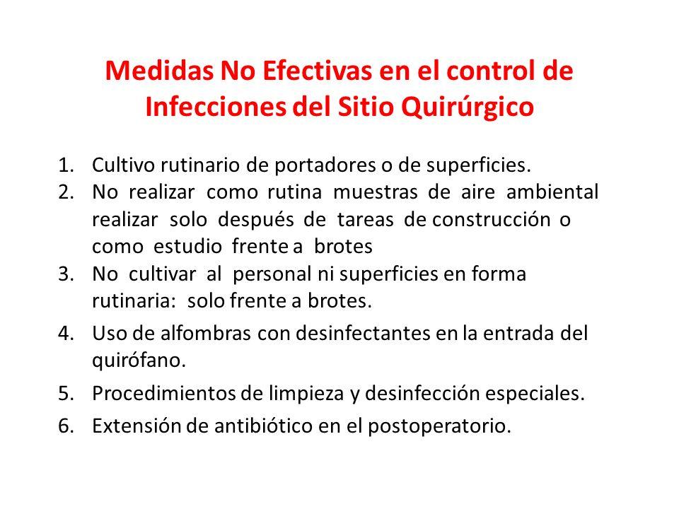 Medidas No Efectivas en el control de Infecciones del Sitio Quirúrgico 1.Cultivo rutinario de portadores o de superficies. 2.No realizar como rutina m