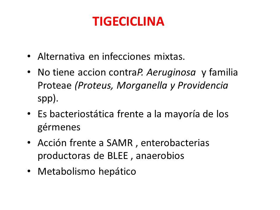 TIGECICLINA Alternativa en infecciones mixtas. No tiene accion contraP. Aeruginosa y familia Proteae (Proteus, Morganella y Providencia spp). Es bacte