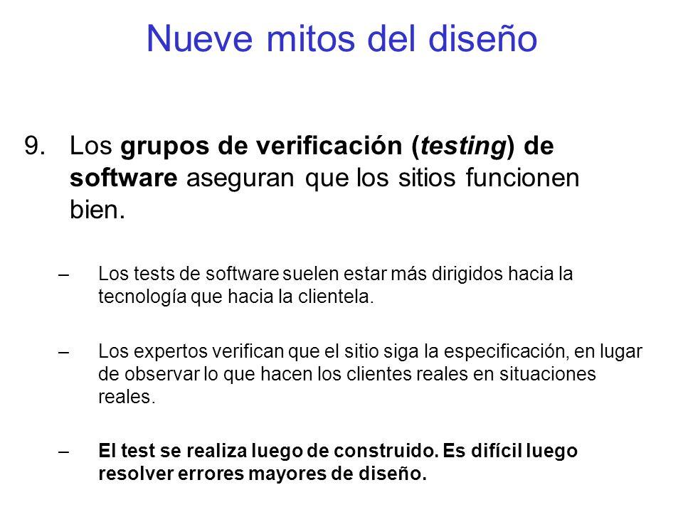 Nueve mitos del diseño 9.Los grupos de verificación (testing) de software aseguran que los sitios funcionen bien. –Los tests de software suelen estar