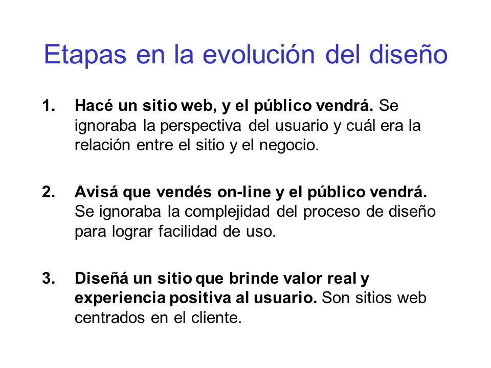 Etapas en la evolución del diseño 1.Hacé un sitio web, y el público vendrá. Se ignoraba la perspectiva del usuario y cuál era la relación entre el sit