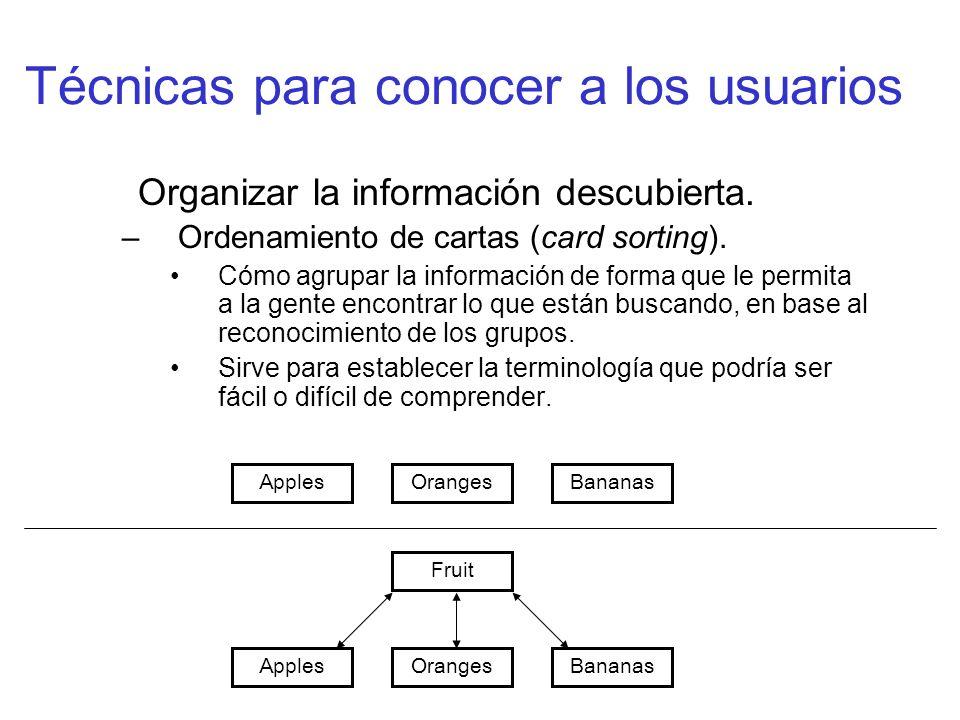 Técnicas para conocer a los usuarios Organizar la información descubierta. –Ordenamiento de cartas (card sorting). Cómo agrupar la información de form