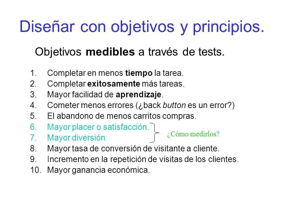 Diseñar con objetivos y principios. Objetivos medibles a través de tests. 1.Completar en menos tiempo la tarea. 2.Completar exitosamente más tareas. 3