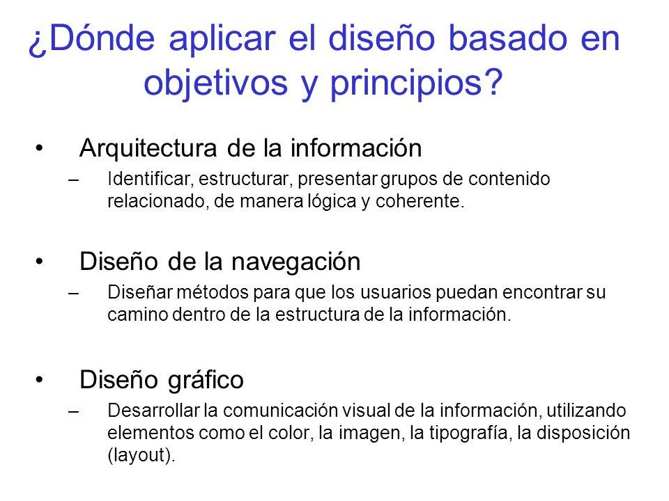 ¿Dónde aplicar el diseño basado en objetivos y principios? Arquitectura de la información –Identificar, estructurar, presentar grupos de contenido rel