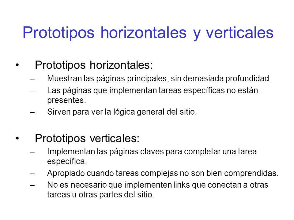 Prototipos horizontales y verticales Prototipos horizontales: –Muestran las páginas principales, sin demasiada profundidad. –Las páginas que implement