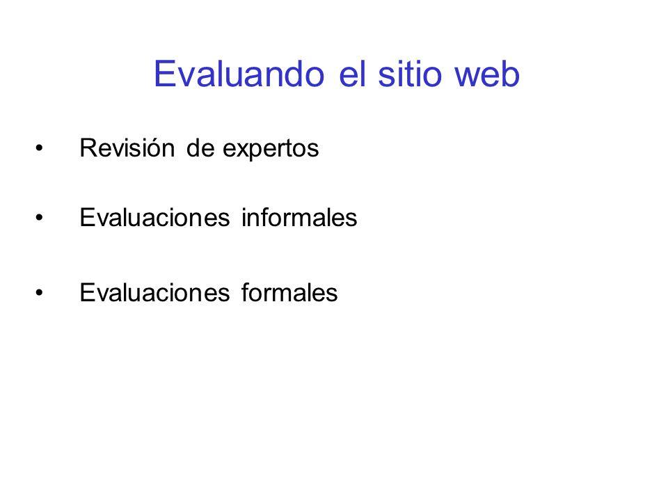Evaluando el sitio web Revisión de expertos Evaluaciones informales Evaluaciones formales