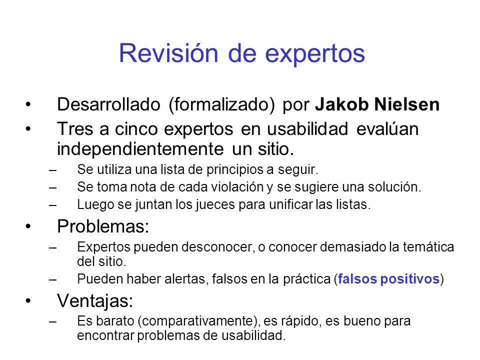 Revisión de expertos Desarrollado (formalizado) por Jakob Nielsen Tres a cinco expertos en usabilidad evalúan independientemente un sitio. –Se utiliza