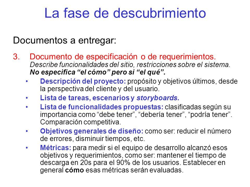 La fase de descubrimiento Documentos a entregar: 3.Documento de especificación o de requerimientos. Describe funcionalidades del sitio, restricciones