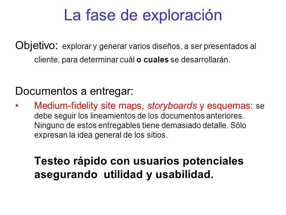 La fase de exploración Objetivo: explorar y generar varios diseños, a ser presentados al cliente, para determinar cuál o cuales se desarrollarán. Docu