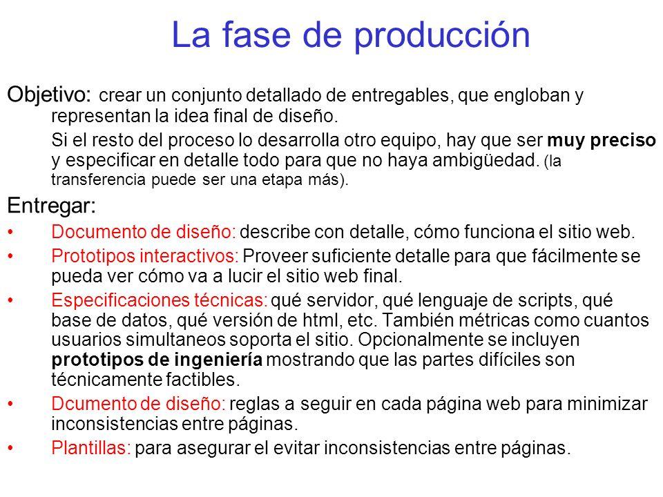 La fase de producción Objetivo: crear un conjunto detallado de entregables, que engloban y representan la idea final de diseño. Si el resto del proces
