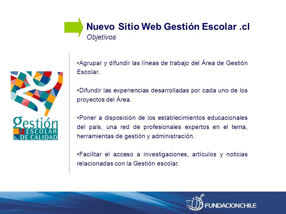 Nuevo Sitio Web Gestión Escolar.cl Objetivos Agrupar y difundir las líneas de trabajo del Área de Gestión Escolar. Difundir las experiencias desarroll