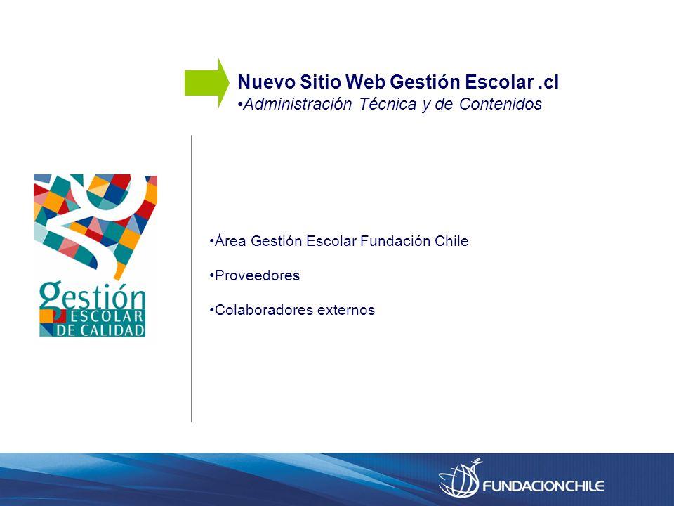 Área Gestión Escolar Fundación Chile Proveedores Colaboradores externos Nuevo Sitio Web Gestión Escolar.cl Administración Técnica y de Contenidos