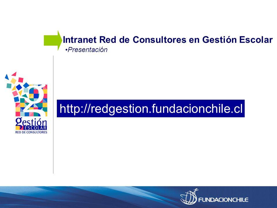 Presentación Intranet Red de Consultores en Gestión Escolar http://redgestion.fundacionchile.cl