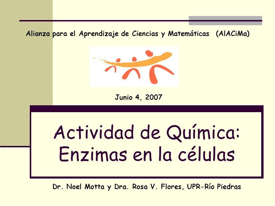 Actividad de Química: Enzimas en la células Alianza para el Aprendizaje de Ciencias y Matemáticas (AlACiMa) Junio 4, 2007 Dr. Noel Motta y Dra. Rosa V
