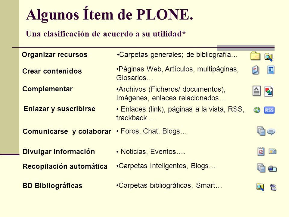 Algunos Ítem de PLONE. Una clasificación de acuerdo a su utilidad* Recopilación automática Carpetas Inteligentes, Blogs… Páginas Web, Artículos, multi