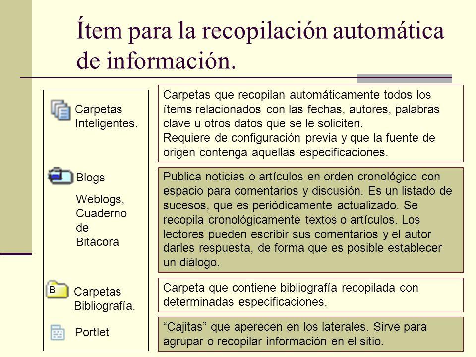 Ítem para la recopilación automática de información. Blogs Weblogs, Cuaderno de Bitácora Carpetas Inteligentes. B Carpetas Bibliografía. Portlet Carpe
