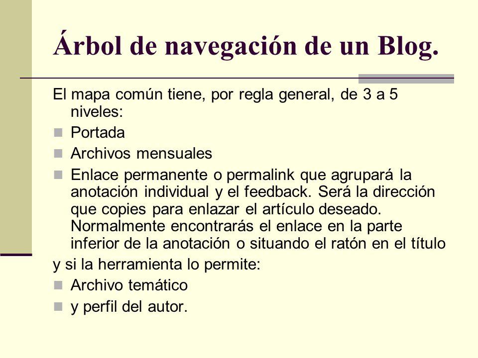 Árbol de navegación de un Blog. El mapa común tiene, por regla general, de 3 a 5 niveles: Portada Archivos mensuales Enlace permanente o permalink que