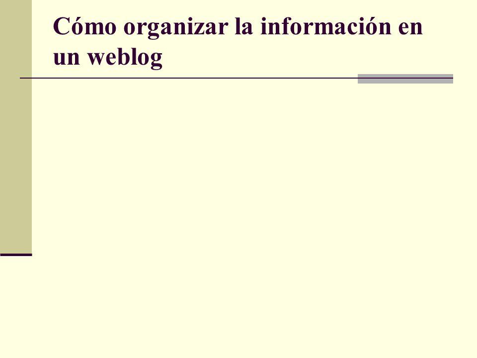 Cómo organizar la información en un weblog