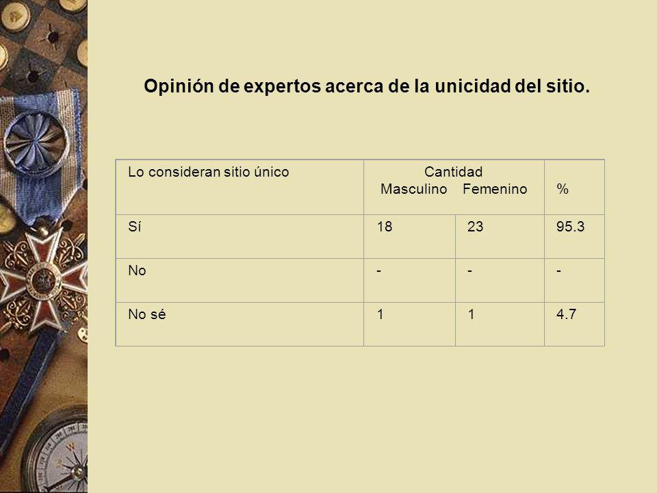 Opinión de expertos acerca de la unicidad del sitio. Lo consideran sitio únicoCantidad Masculino Femenino % Sí182395.3 No--- No sé114.7