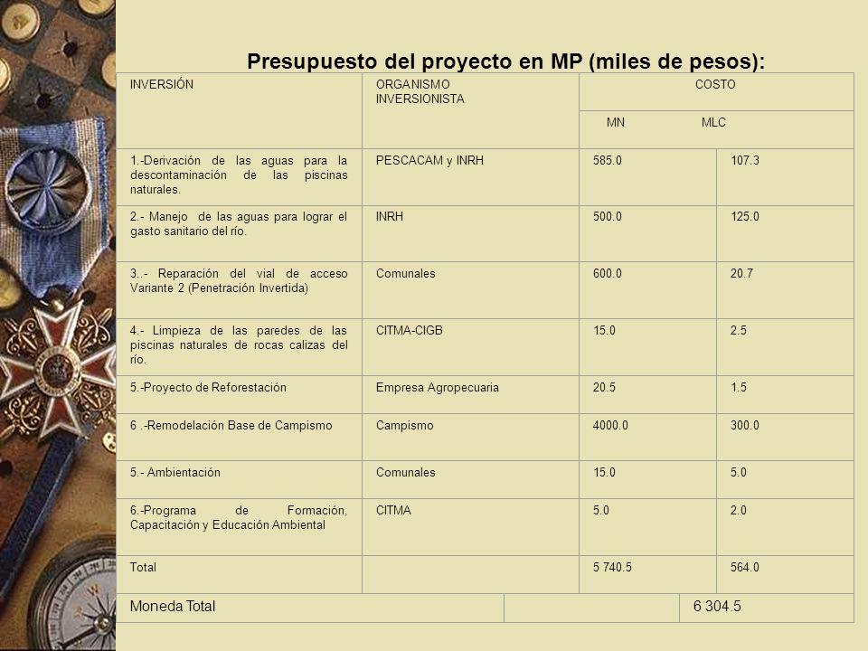 Presupuesto del proyecto en MP (miles de pesos): INVERSIÓNORGANISMO INVERSIONISTA COSTO MN MLC 1.-Derivación de las aguas para la descontaminación de