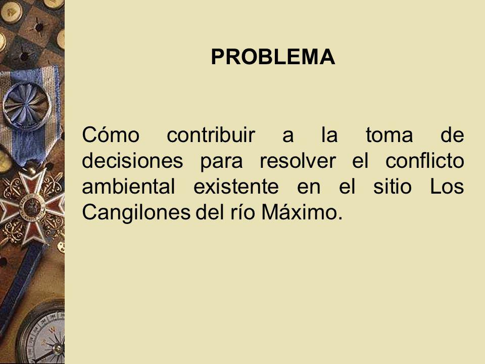 PROBLEMA Cómo contribuir a la toma de decisiones para resolver el conflicto ambiental existente en el sitio Los Cangilones del río Máximo.