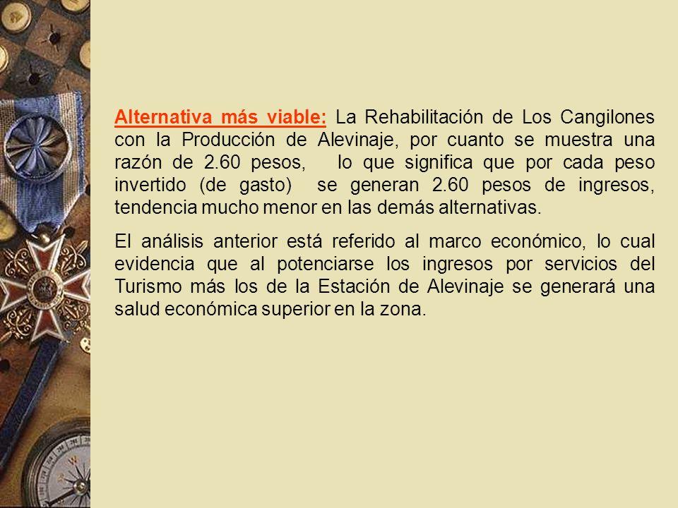 Alternativa más viable: La Rehabilitación de Los Cangilones con la Producción de Alevinaje, por cuanto se muestra una razón de 2.60 pesos, lo que sign