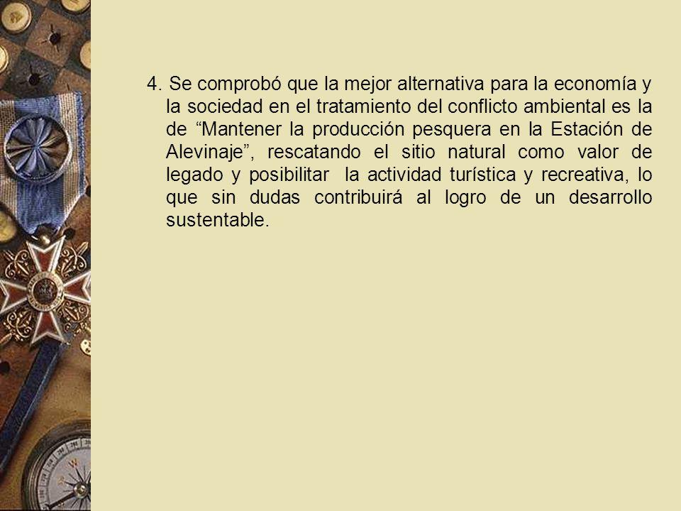 4. Se comprobó que la mejor alternativa para la economía y la sociedad en el tratamiento del conflicto ambiental es la de Mantener la producción pesqu