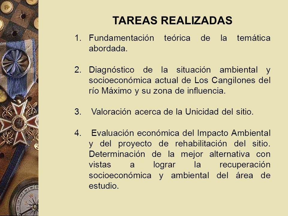 TAREAS REALIZADAS 1.Fundamentación teórica de la temática abordada. 2.Diagnóstico de la situación ambiental y socioeconómica actual de Los Cangilones