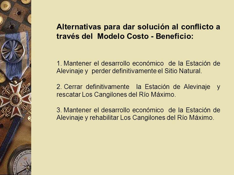 Alternativas para dar solución al conflicto a través del Modelo Costo - Beneficio: 1. Mantener el desarrollo económico de la Estación de Alevinaje y p