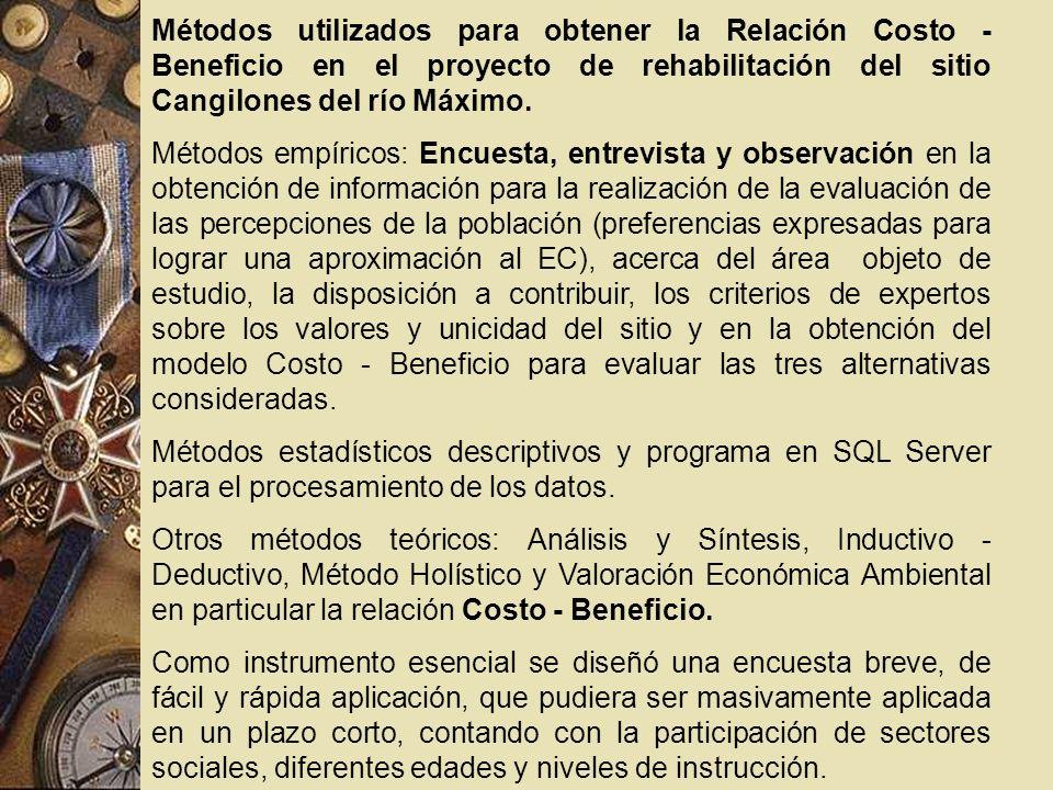Métodos utilizados para obtener la Relación Costo - Beneficio en el proyecto de rehabilitación del sitio Cangilones del río Máximo. Métodos empíricos: