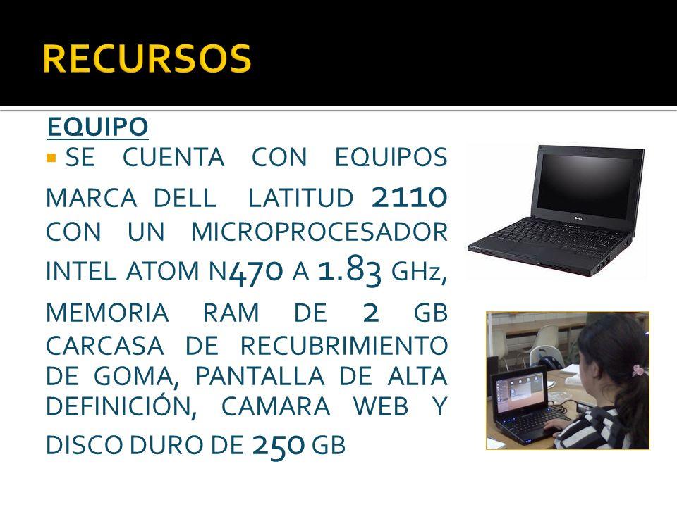 EQUIPO SE CUENTA CON EQUIPOS MARCA DELL LATITUD 2110 CON UN MICROPROCESADOR INTEL ATOM N 470 A 1.83 GHz, MEMORIA RAM DE 2 GB CARCASA DE RECUBRIMIENTO