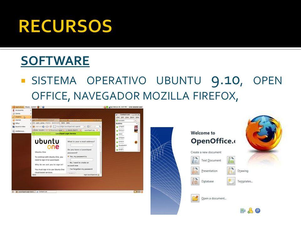SOFTWARE SISTEMA OPERATIVO UBUNTU 9.10, OPEN OFFICE, NAVEGADOR MOZILLA FIREFOX,