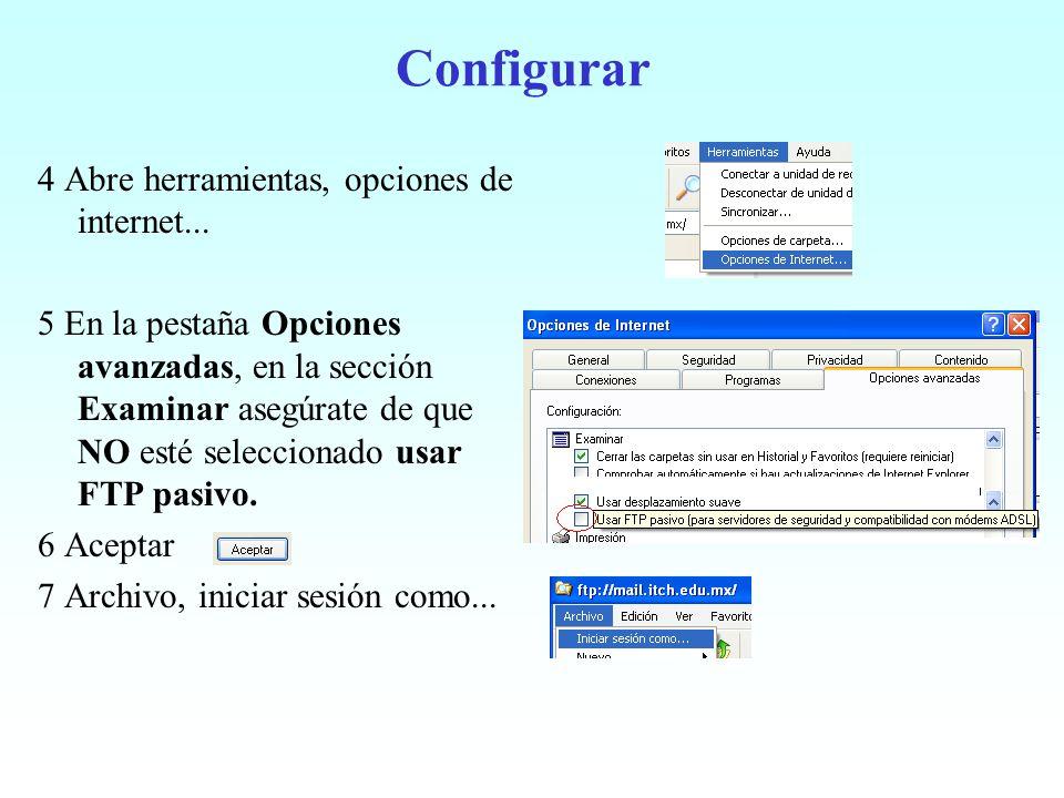 Configurar 4 Abre herramientas, opciones de internet... 5 En la pestaña Opciones avanzadas, en la sección Examinar asegúrate de que NO esté selecciona