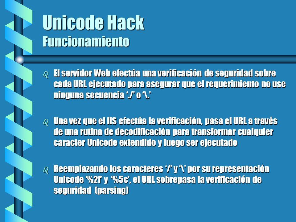 Unicode Hack Funcionamiento b El servidor Web efectúa una verificación de seguridad sobre cada URL ejecutado para asegurar que el requerimiento no use