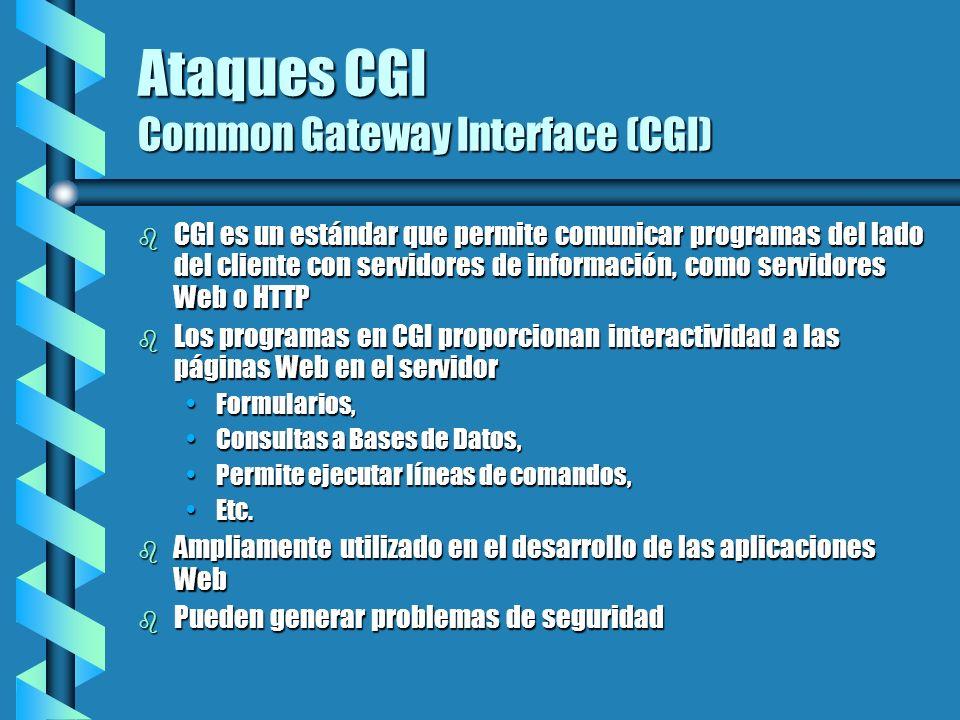 Ataques CGI Common Gateway Interface (CGI) b CGI es un estándar que permite comunicar programas del lado del cliente con servidores de información, co