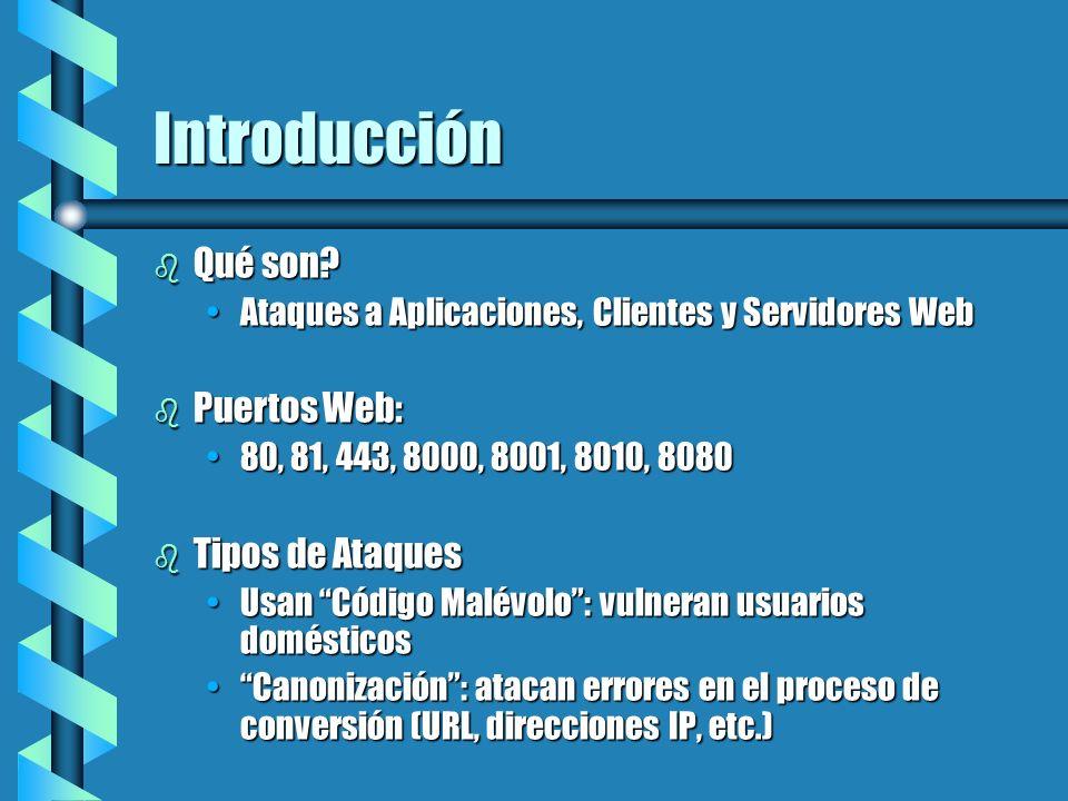 Introducción b Qué son? Ataques a Aplicaciones, Clientes y Servidores WebAtaques a Aplicaciones, Clientes y Servidores Web b Puertos Web: 80, 81, 443,