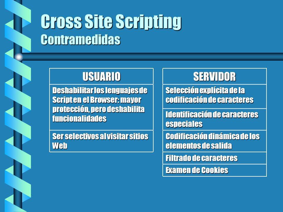 Cross Site Scripting Contramedidas USUARIOSERVIDOR Deshabilitar los lenguajes de Script en el Browser: mayor protección, pero deshabilita funcionalida