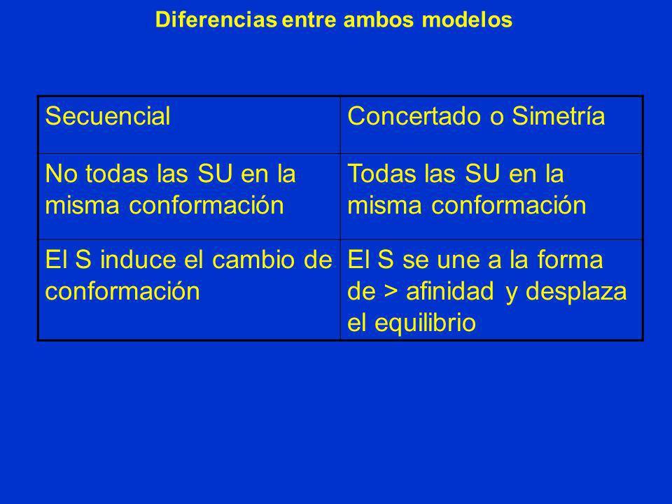 Diferencias entre ambos modelos SecuencialConcertado o Simetría No todas las SU en la misma conformación Todas las SU en la misma conformación El S in