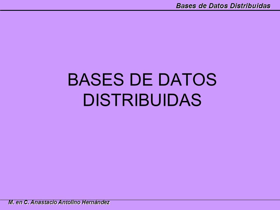Bases de Datos Distribuidas M. en C. Anastacio Antolino Hernández BASES DE DATOS DISTRIBUIDAS
