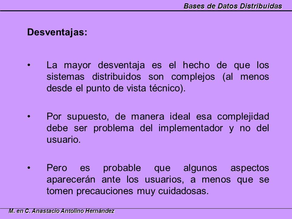 Bases de Datos Distribuidas M. en C. Anastacio Antolino Hernández Desventajas: La mayor desventaja es el hecho de que los sistemas distribuidos son co