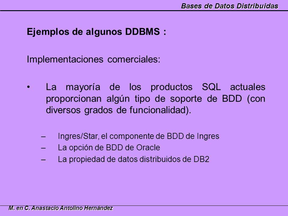 Bases de Datos Distribuidas M. en C. Anastacio Antolino Hernández Ejemplos de algunos DDBMS : Implementaciones comerciales: La mayoría de los producto